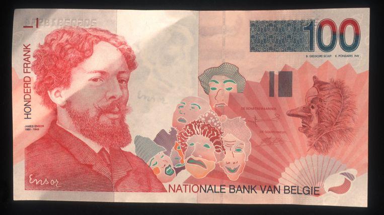 Nostalgie voor de ene, een compleet onbekend biljet voor de andere: sinds achttien jaar al is onder andere dit biljet van 100 Belgische frank (2,5 euro) verdwenen. Beeld Photo News