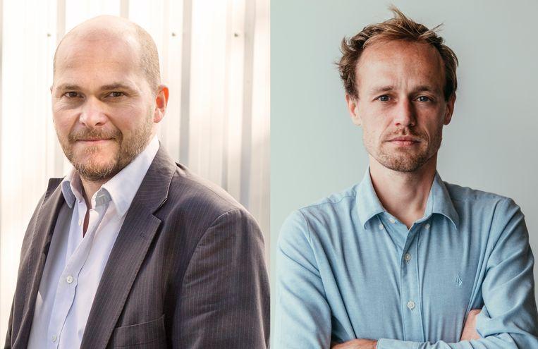 De Morgen-hoofdredacteur Bart Eeckhout en journalist Bruno Struys. Beeld De Persgroep