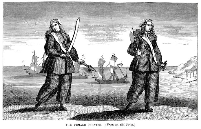 Een afbeelding van Anne Bonny en Mary Read uit  'A General History of the Pyrates' (1724).