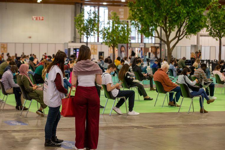 Het vaccinatiecentrum van Brussels Expo.  Beeld BELGA