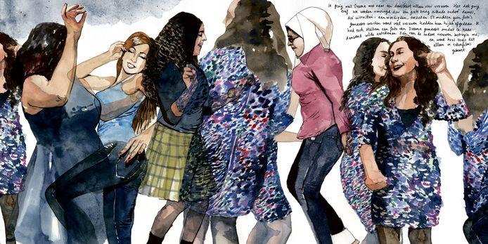 De in Syrië geboren vluchtelinge Deema Aljumaa, getekend op een dansfeest voor vrouwen. Illustratie uit het stripboek Verbonden Verhalen.
