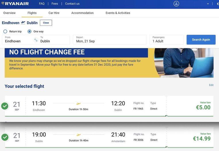 Voor de twee vliegtickets van Eindhoven naar Dublin en van Dublin naar Amsterdam is hij nog geen 20 euro kwijt. Beeld Eric Mahieu