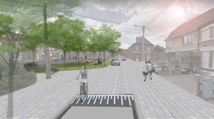 Eén van de voorstellen is om het kruispunt van de Blinde Rodenbachstraat en de Groene Herderstraat ten voordele van de zwakke weggebruikers.