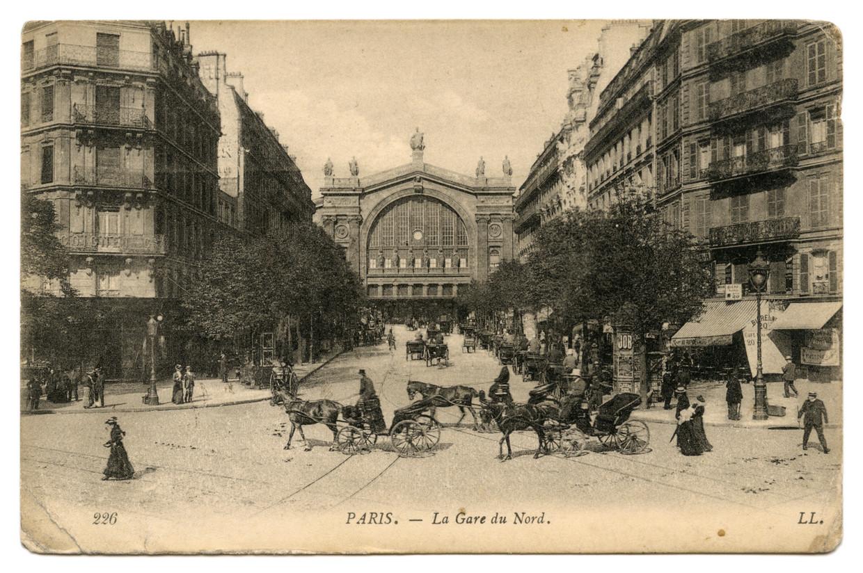 Ansichtkaart van de Gare du Nord in Parijs, circa 1905.   Beeld privéverzameling