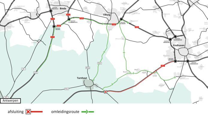A67 komend weekend dicht tussen Belgische grens en Eindhoven