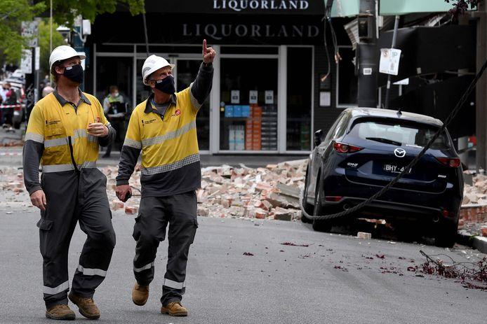 Schade in een winkelstraat in de Australische stad Melbourne.