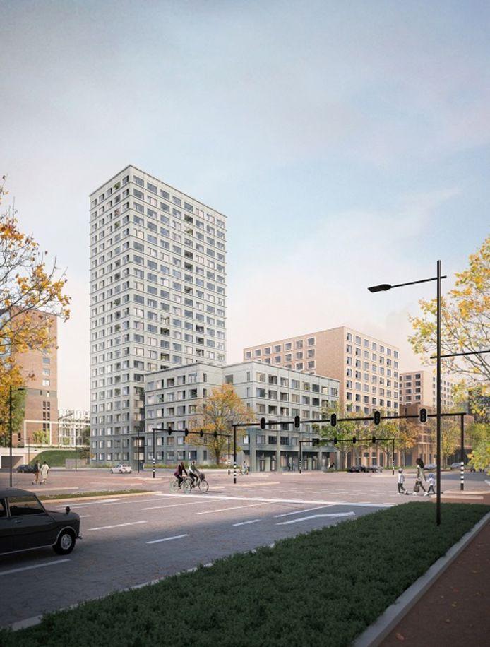 Een impressie van woontoren High Lane, gezien vanaf de kruising van de Hart van Brabantlaan met de St. Ceciliastraat. Medio 2023 moet het gebouw er staan.