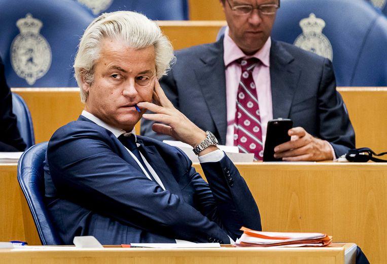 PVV-leider Wilders in zijn Kamerzetel. Beeld anp
