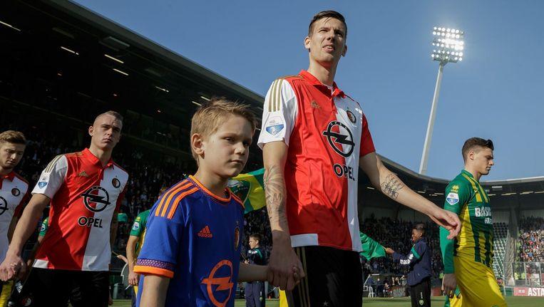Michiel Kramer voor de wedstrijd tegen Ado Den Haag Beeld photo_news