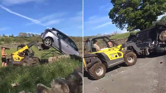 Furieuze landbouwer maakt korte metten met slecht geparkeerde wagen