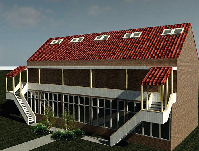 Artist impression van de voorgenomen nieuwbouw , vijf woningen en een upcycle atelier.