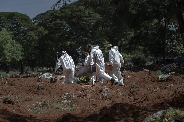 Een afgezonderde begrafenis op Vila Formosa. Op de begraafplaats in São Paulo, de grootste van Latijns-Amerika, wordt ieder kwartier een covid-19-dode begraven. Beeld Gabriela Portilho