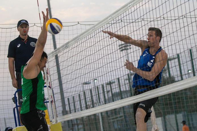 Christiaan Varenhorst in actie in Doha. Foto: FIVB