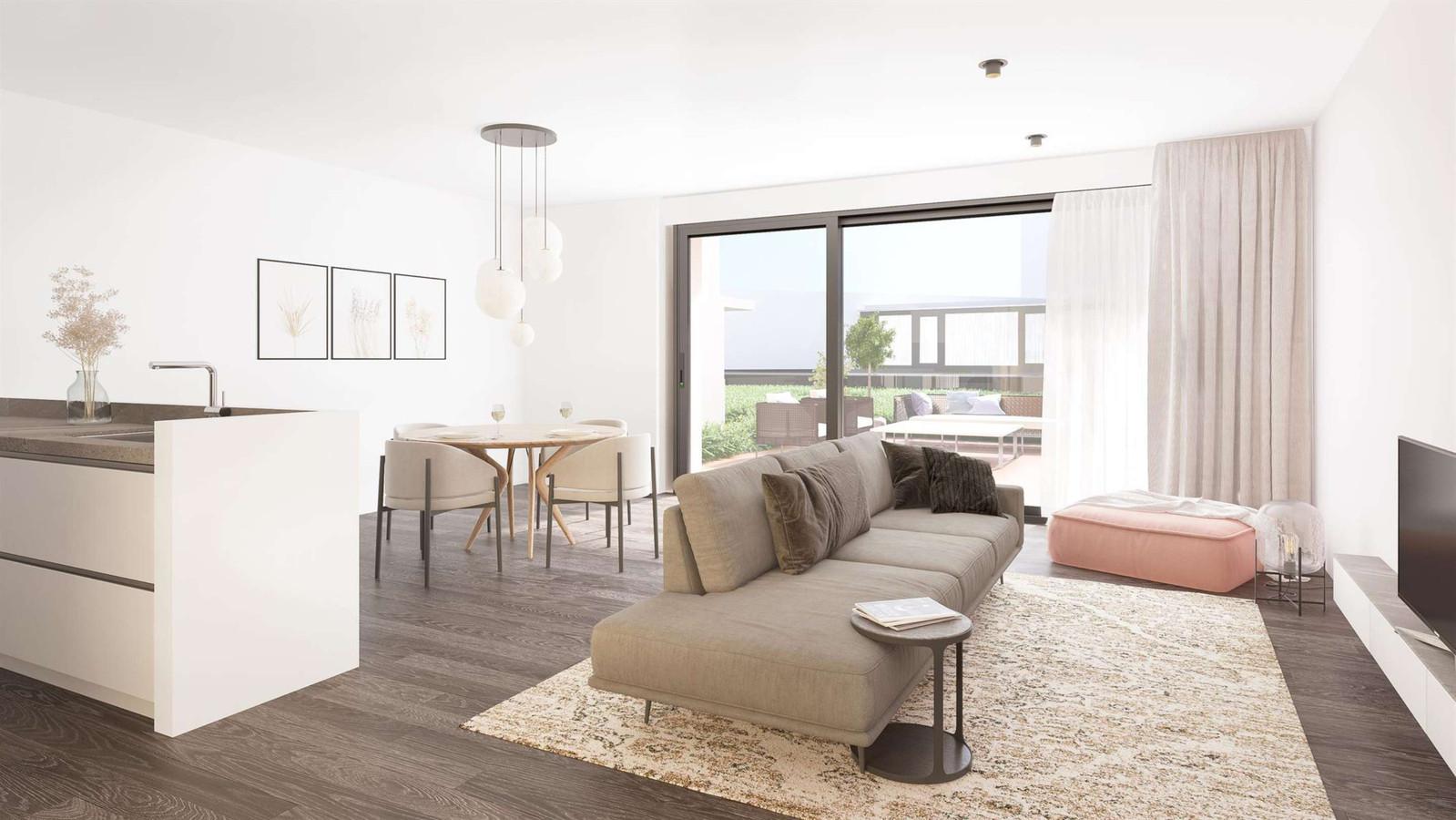 De appartementen hebben gezellige leefruimtes