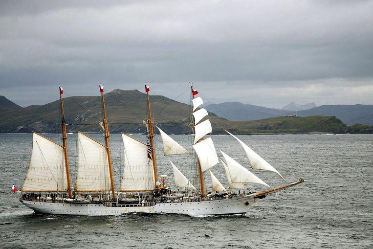 Het Chileense schip, de Esmeralda. Beeld EPA