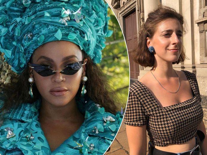 Links: Beyoncé met de 'Pearlli Drops' van het Antwerpse label Live-To-Express. Rechts: de jonge bezielster van het label, Nadine Veldman.