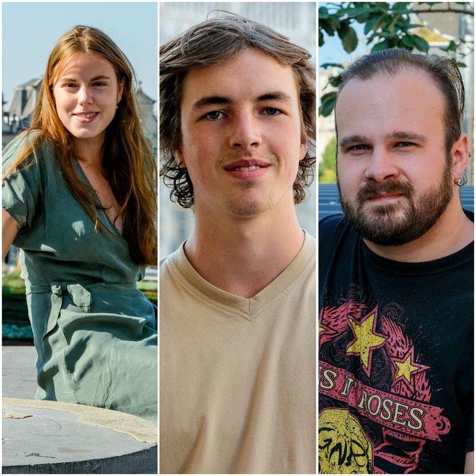 Onze Brusselse studenten: Charlotte Teuwens, Arthur Desimpelaere, en Inoti Bruneel.