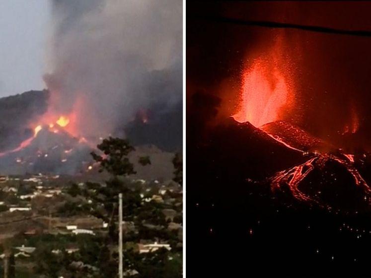 Lava vulkaan op vakantie-eiland la Palma bereikt eerste huizen