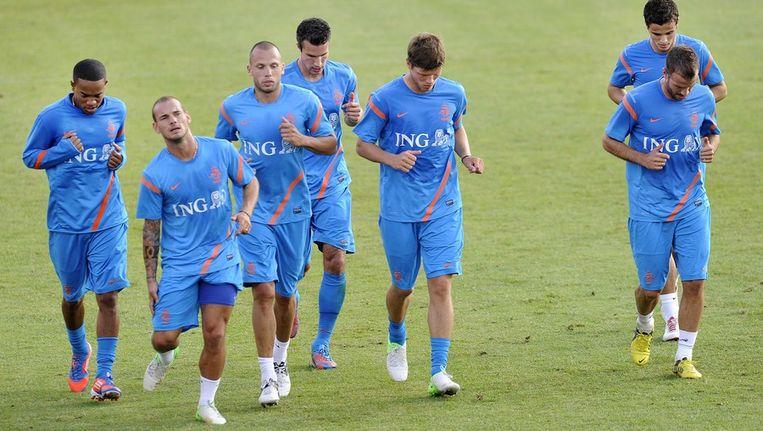 Spelers van Oranje tijdens de training. Beeld anp
