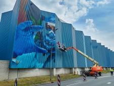 Nu al klinkt spontaan applaus voor het kunstwerk op de blauwe wand in Oss: 'De reacties zijn geweldig'