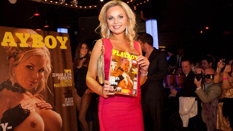 Lesley-Ann Poppe stond in 2012 op de cover van de Belgische Playboy. Beeld BELGA