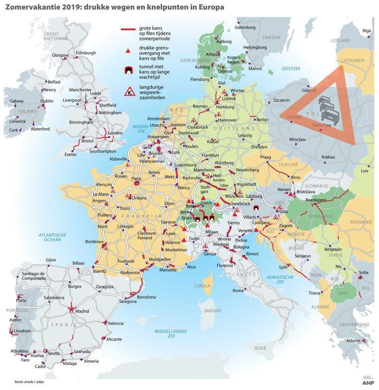 Zomervakantie 2019: een overzicht van de drukke wegen en knelpunten in Europa.
