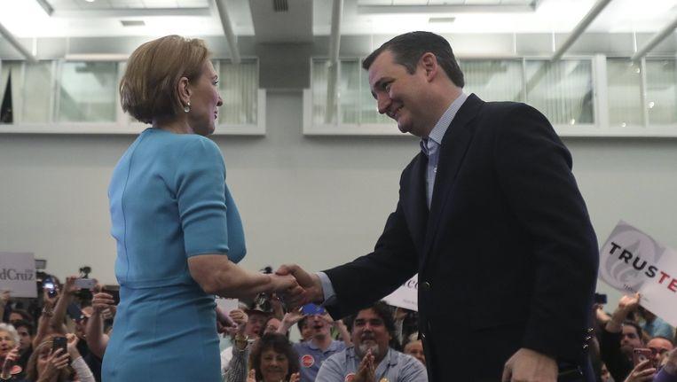Carly Fiorina (links) en Ted Cruz. Beeld reuters