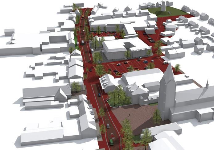 Impressie van het herinrichtingsplan voor het centrum van Zeeland.