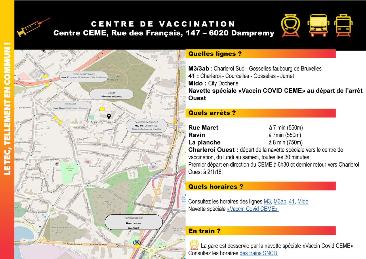 Transport en commun gratuit vers le centre de vaccination de Dampremy (Charleroi)