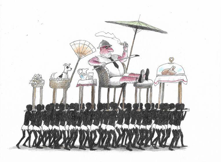 Een tekening van Thé Tjong Khing rond het thema kolonialisme. Beeld Thé Tjong-Khing