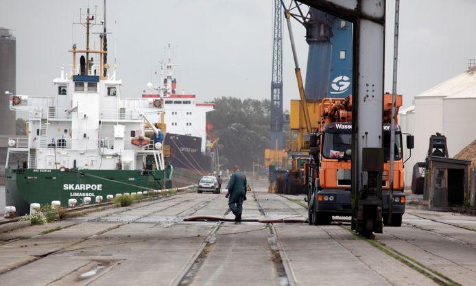 Beeld van de haven van Gent