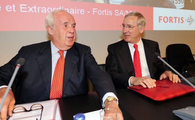 Maurice Lippens en Jean-Paul Votron op 29 april 2008, de dag waarop de overname van ABN AMRO werd goedgekeurd door de aandeelhouders. Beeld BELGA