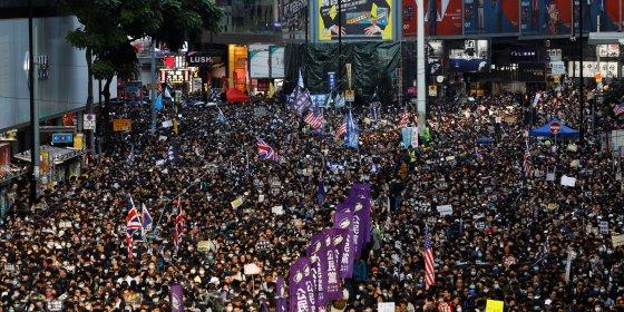 Opnieuw honderdduizenden mensen op straat in Hongkong
