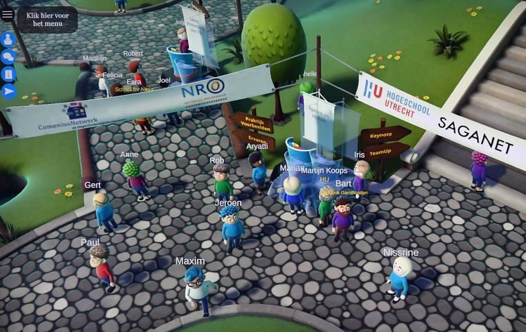 Beeld uit de online conferentie over gamen in het onderwijs. Beeld Marcel van den Bergh / de Volkskrant