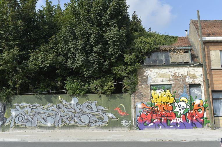 """Gevels van leegstaande huizen worden beklad met graffiti. """"Het lijkt hier een ghetto"""", zegt de buurtvereniging."""