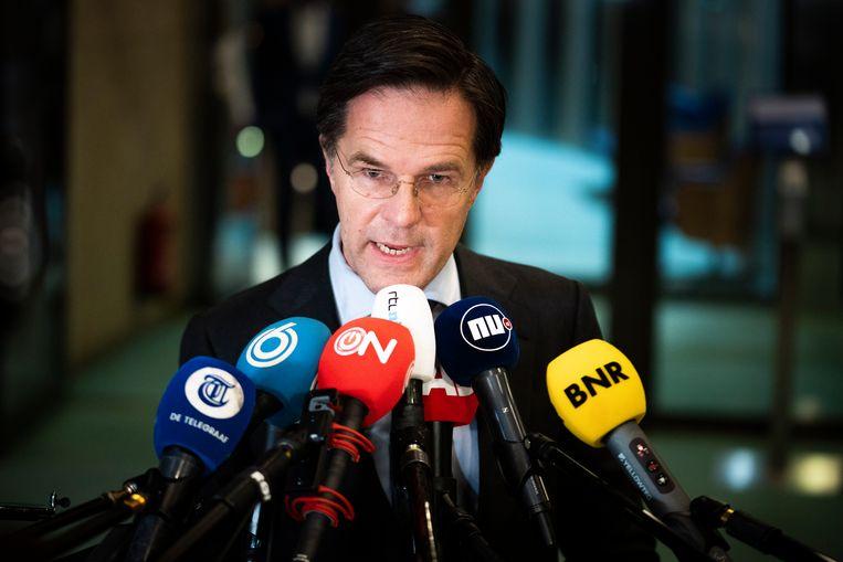 Mark Rutte na afloop van het debat waarin de voltallige oppositie een motie van wantrouwen tegen hem aanneemt, 2 april.  Beeld Freek van den Bergh / de Volkskrant