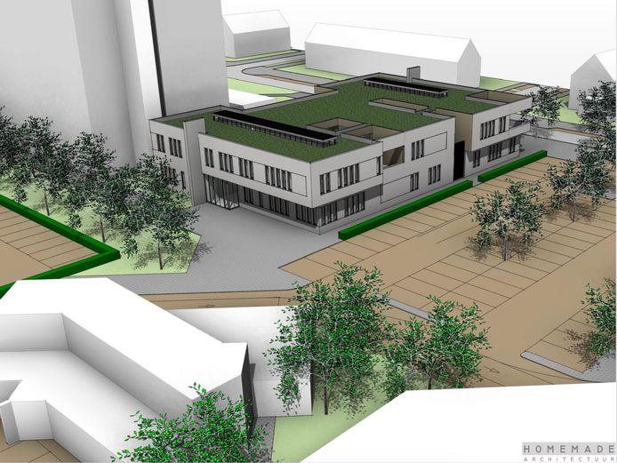 Het nieuwe gezondheidscentrum komt op de plek van wijkcentrum D'n Iemhof. Het schurkt straks tegen de Sterrebosflat aan. Linksvoor het huidige pand van apotheek Hofsteede.