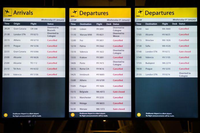 Eindhoven Airport blijft open vanwege mist, veldbedden opgezet