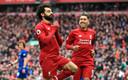 Mo Salah viert zijn wonderschone treffer.