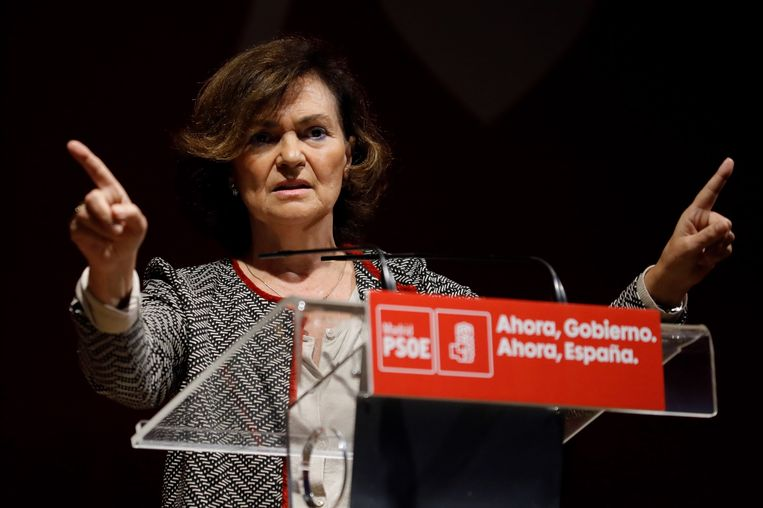 De Spaanse vicepremier Carmen Calvo. Beeld Hollandse Hoogte / EPA