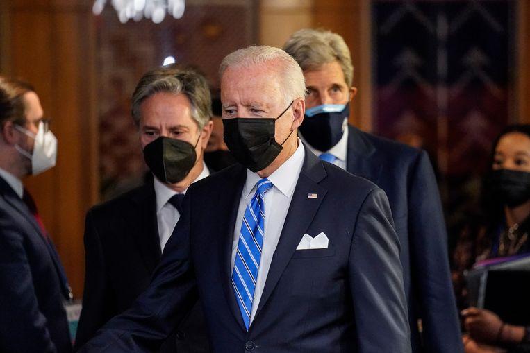De Amerikaanse president Joe Biden arriveert bij de Verenigde Naties.  Beeld EPA