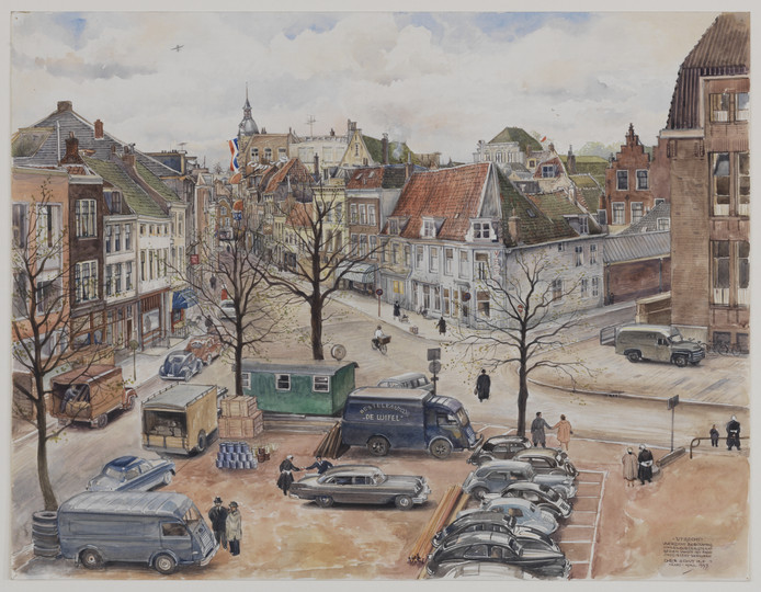 De Neude in 1957, getekend door Chris Schut