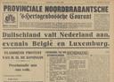 Voorpagina van de krant van 10 mei 1940 die in allerijl opnieuw werd opgemaakt. De krant kon niet meer bezorgd worden.