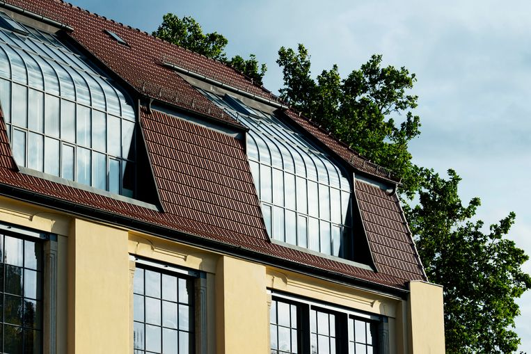 Hoofdgebouw van de eerste kunstacademie in Weimar, architect Henry van de Velde, 1911. Beeld