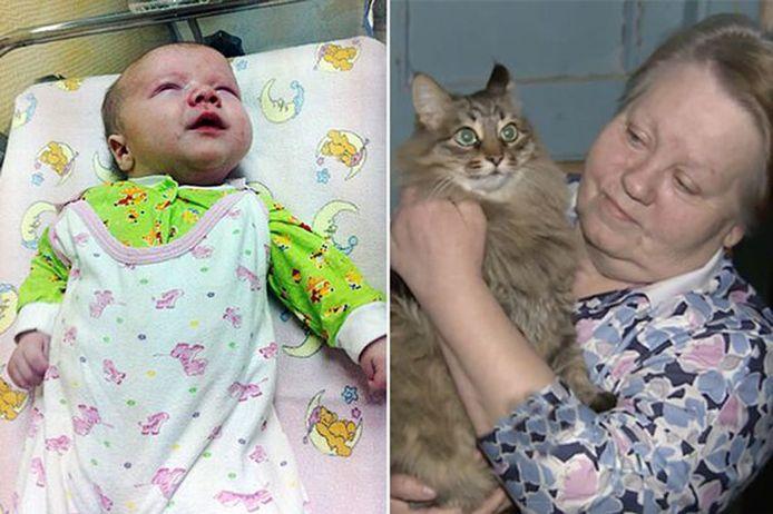 Deze baby van drie maanden heeft zijn leven te danken aan de kat Masha.