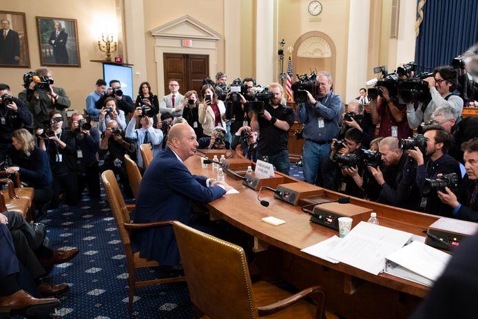 Gordon Sondland tijdens de hoorzitting in het Huis van Afgevaardigden.