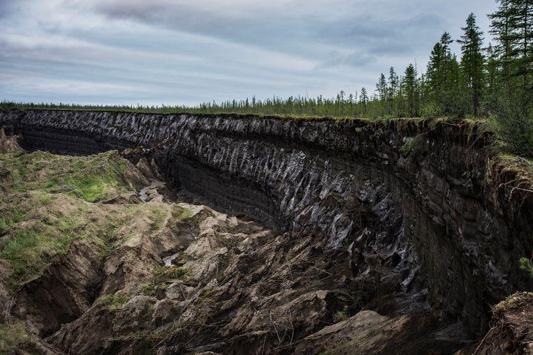 In de Batagajka-krater zijn grote hoeveelheden permafrost duidelijk te zien. Beeld Yuri Kozyrev/Noor