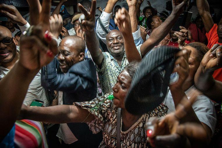 Supporters van Félix Tshisekedi nadat de uitslag bekend werd.  Beeld AFP