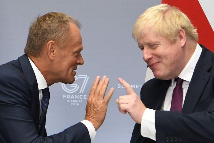 Wie gaat straks de geschiedenis in als 'Mr. No Deal'? Europees president Donald Tusk of Boris Johnson?