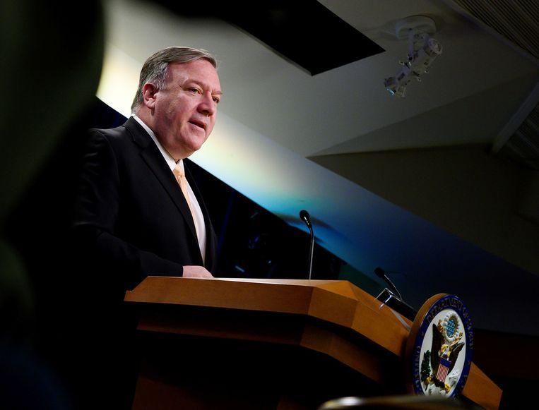 De Amerikaanse minister van Buitenlandse Zaken Pompeo. Beeld AFP